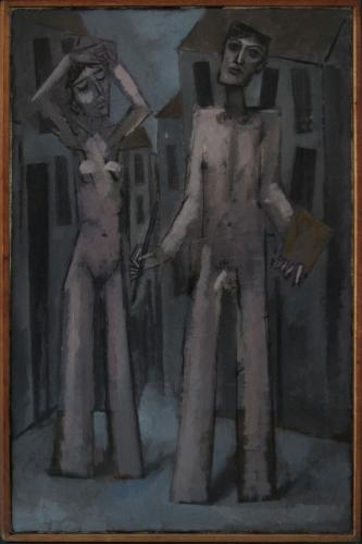 Artist and his model in the city / Oil on canvas, 30″ x 20″ (c. 2000)