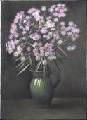Purple Asters in a green vase