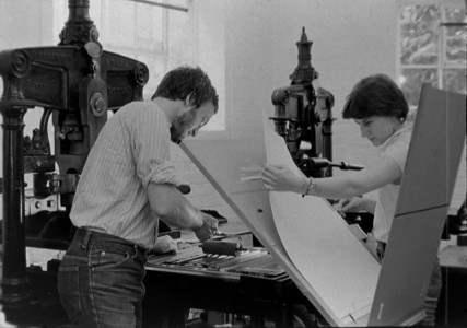 Printing the mounts on an Albion hand press at I.M Imprimit in 1980