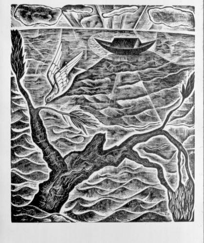 David Jones: `Return of the dove' from `The Deluge' / Wood-engraving