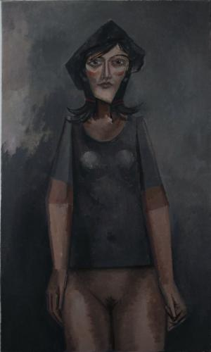 Girl in a black T-shirt and beret / Oil on canvas, 40″ x 24″ (c. 2001)