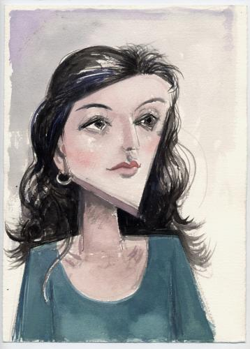 "Girl in a blue T-shirt / Gouache on paper, 14¾"" x 10¾"" (2000)"