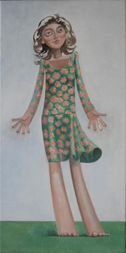 Girl in a green flowered dress / Oil on canvas, 28″ x 14″ (2005)