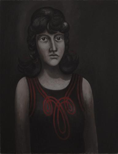 Girl in a red striped dress / Oil on canvas, 26″x 20″ (1966)