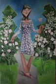 Girl in a rose garden / Oil on canvas, 60″ x 38″ (2005–2007)