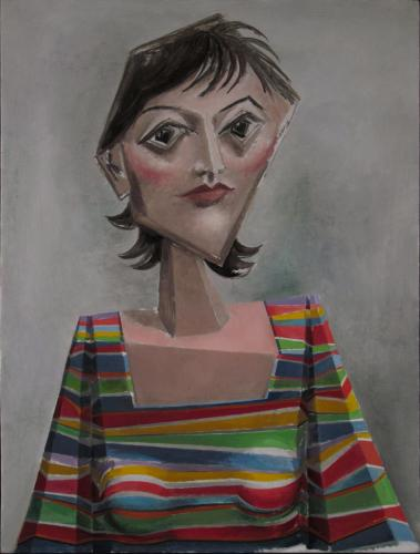 Girl in a striped T-shirt / Oil on plywood, 24″ x 18″ (c. 2006)