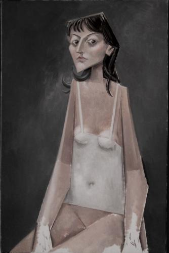 Girl in a white vest / Oil on canvas, 34″ x 22″ (c. 2004)