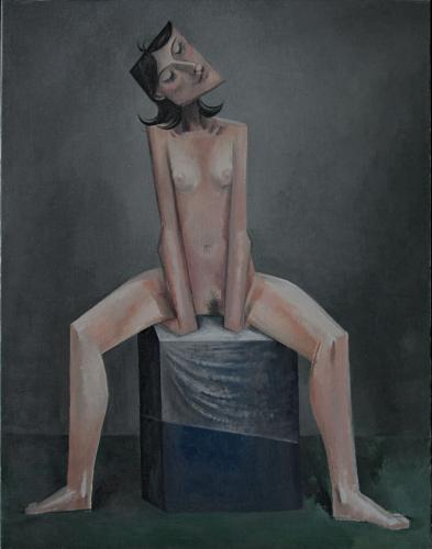 Girl sitting on her hands / Oil on canvas, 40″ x 30″ (2005)