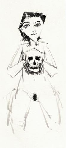 Girl with a skull / Ink and wash (2012)