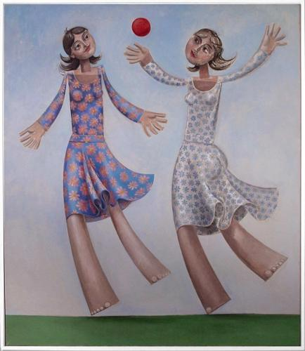 Girls playing ball / Oil on canvas, 40″ x 34″ (2005)