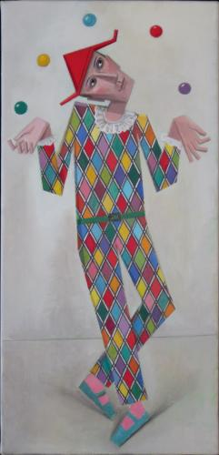 Harlequin juggler / Oil on canvas, 25″ x 12″ (c. 1996)