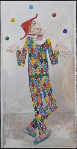 Harlequin juggling / Watercolour & gouache