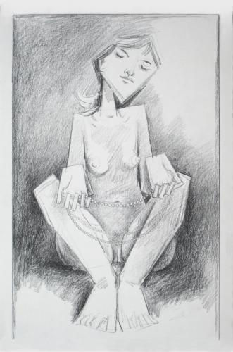 Nude girl holding a pearl necklace / Black chalk on paper (2006)