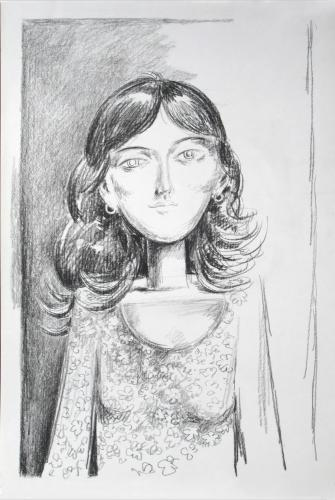 Sketch for `Girl in a flowered dress' / Black chalk on paper (2006)