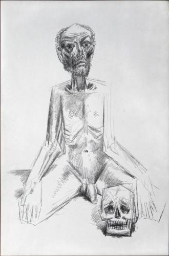 Kneeling man with a skull / Black chalk on paper (2004)