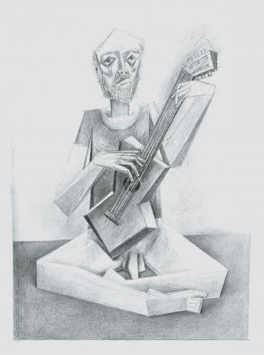 Old guitarist / Graphite on paper (2010)