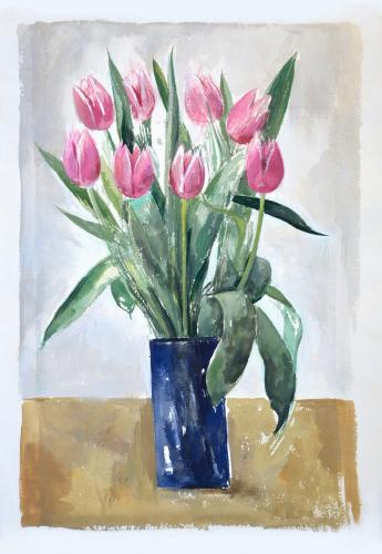 "Pink tulips / Watercolour, 15"" x 11"" (2008)"
