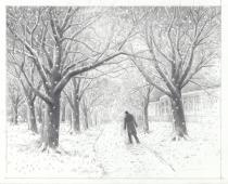 Preparatory drawing for painting: `Snow in London Fields' / Graphite on paper (2013)