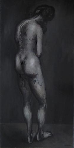 Standing nude, back view / Oil on canvas, 40″ x 20″ (c. 1960-70)