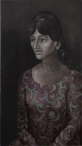 Woman in a patterned dress / Oil on canvas, 32″ x 18″ (c. 1960-69)