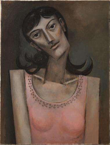 "Woman in a pink vest / Oil on canvas, 26"" x 20"" (c. 2000)"