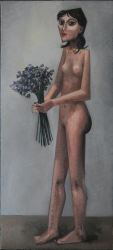 Woman with bluebells / Oil on canvas, 48″ x 22″ (2010)